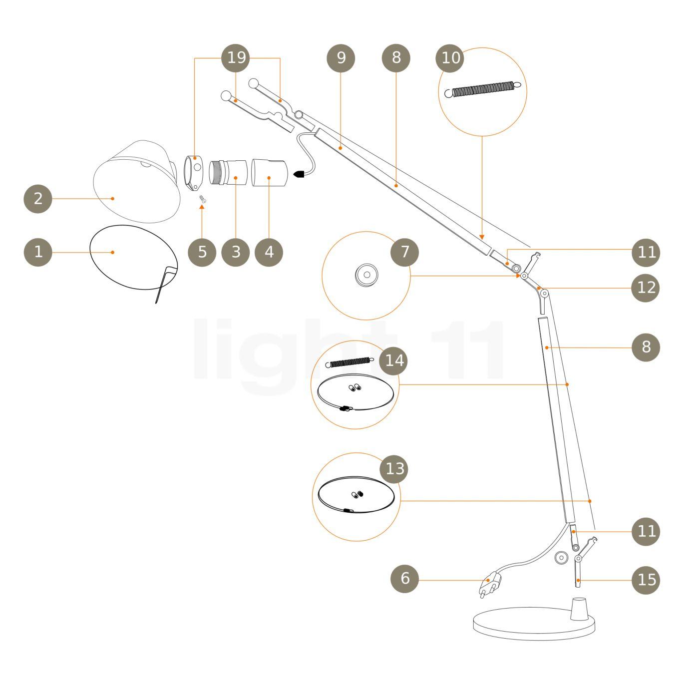 Artemide Pezzi Di Ricambio Per Tolomeo Tavolo E Tolomeo
