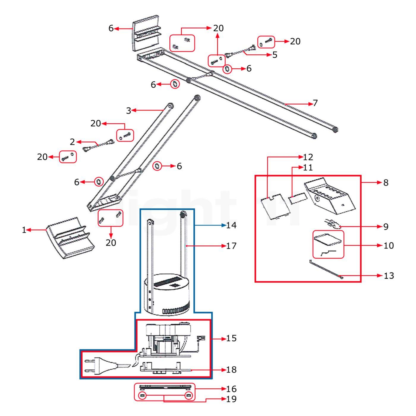 Artemide Spare parts for Tizio 50  white  new version . Artemide Lighting Spare Parts. Home Design Ideas