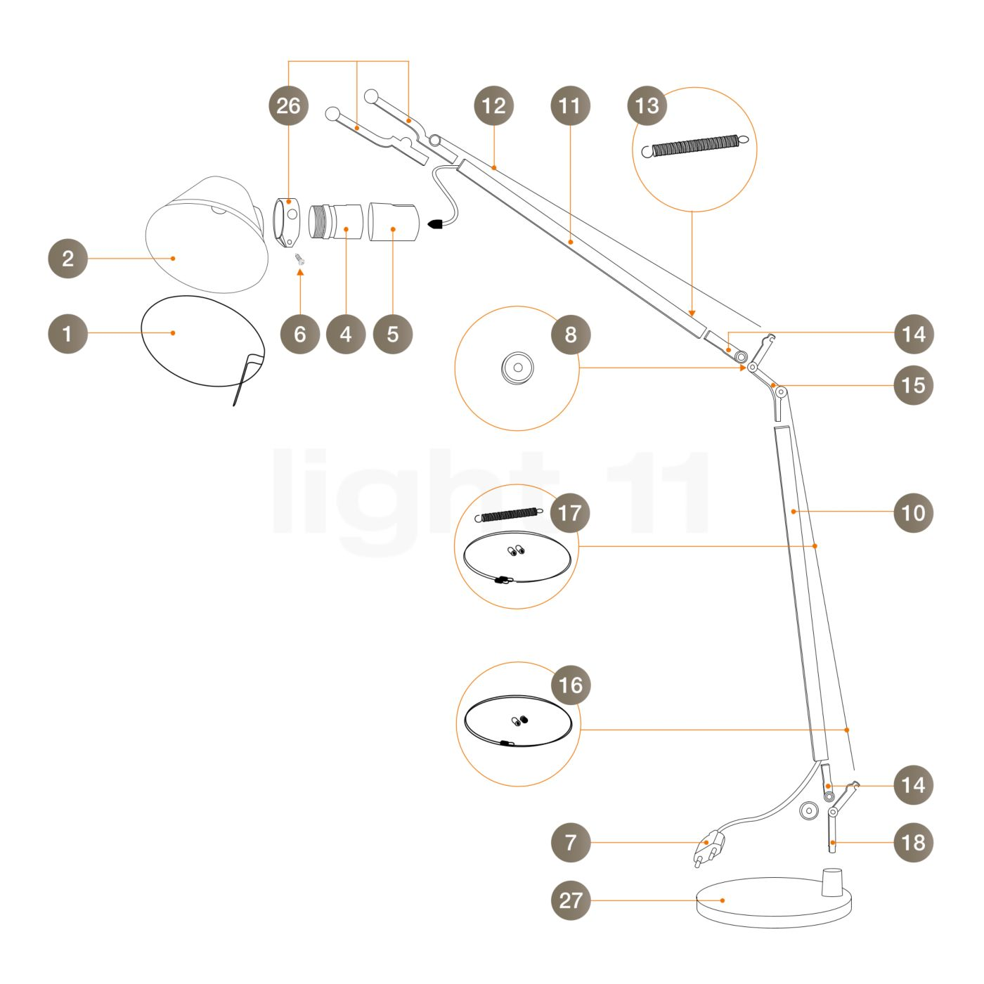 Buy Artemide Spare parts for Tolomeo Lettura, alu at
