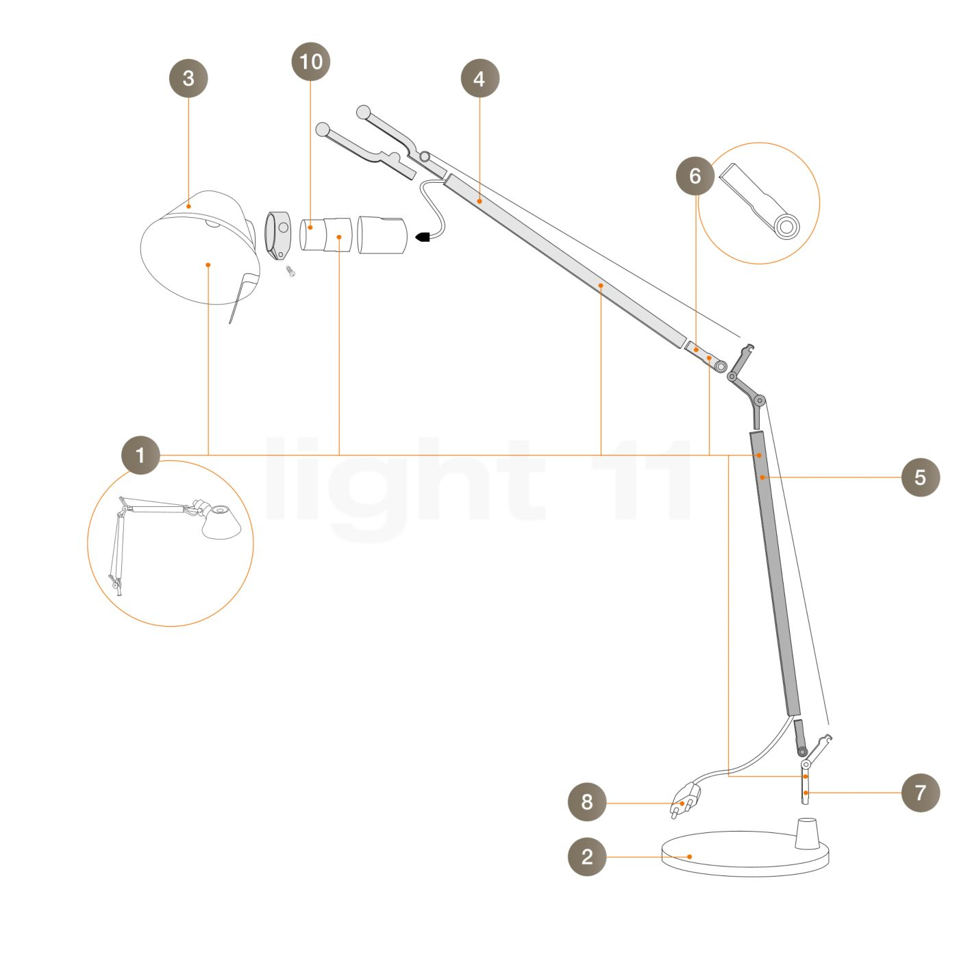 Buy Artemide Spare parts for Tolomeo Micro, alu at