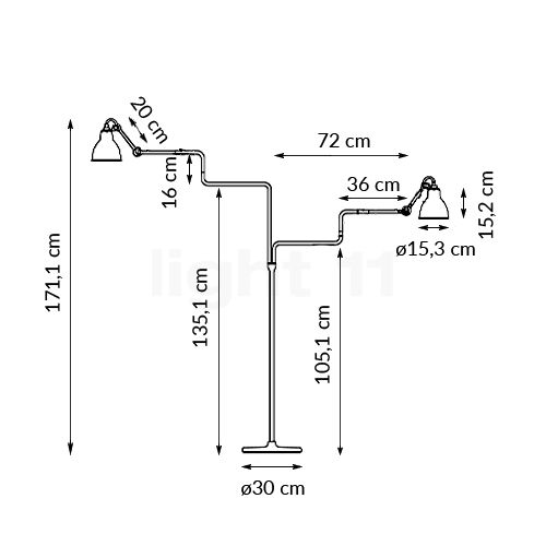 Buy Dcw Lampe Gras No 411 Double Floor Lamp At Light11 Eu
