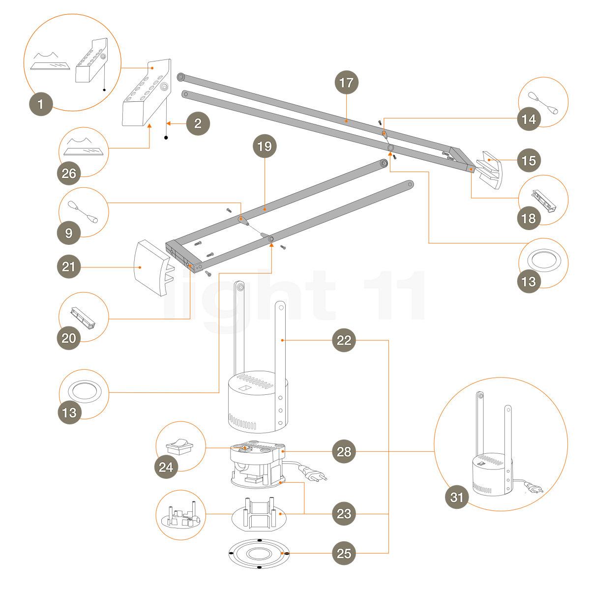 Artemide Tizio 50 Ersatzteile In Schwarz Kaufen Bei Light11 De