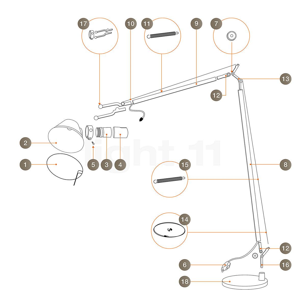 Ersatzteile Fur Tolomeo Lettura Leuchten Von Artemide Kaufen Bei