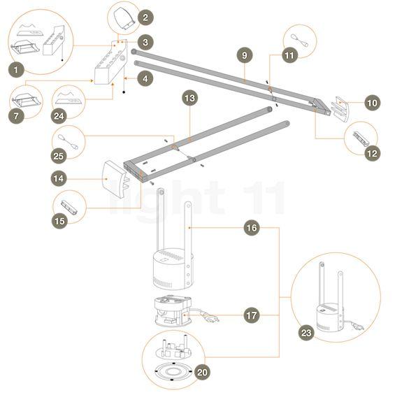 Artemide Ersatzteile für Tizio Plus