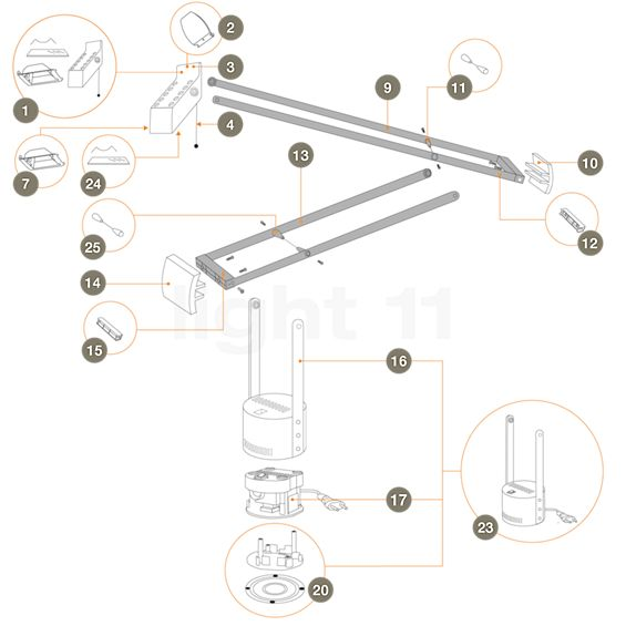 Artemide Pièces détachées pour Tizio Plus