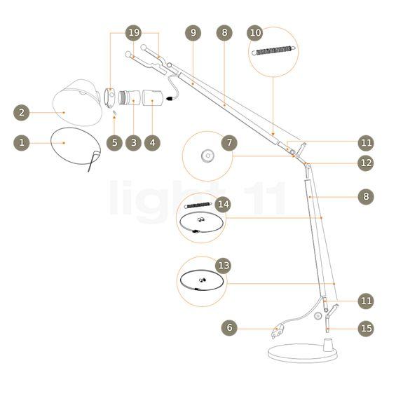 Artemide Reserveonderdelen voor Tolomeo Tavolo en Tolomeo Terra, aluminium