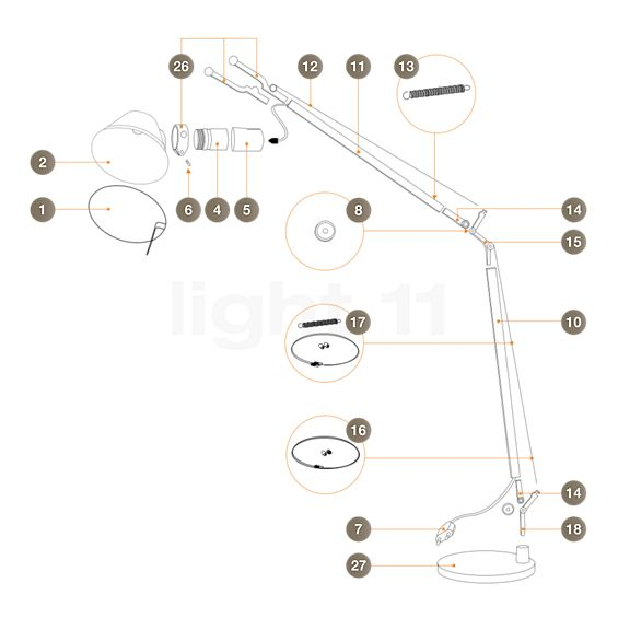 Artemide Spare parts for Tolomeo Lettura, alu