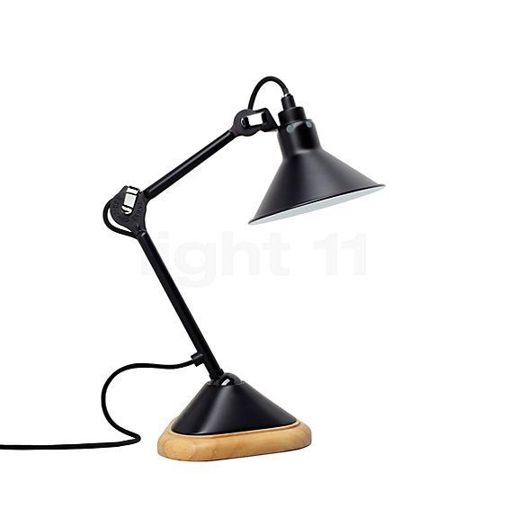 DCW Lampe Gras No 207 Lampe de table noire, abat-jour conique