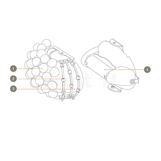 Foscarini Spare parts for Caboche Parete
