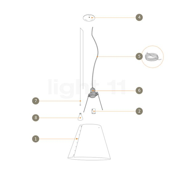 Luceplan Ersatzteile für Costanza Sospensione mit Zugseil