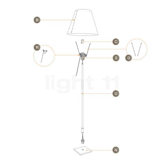 Luceplan Spare Parts for Costanza Terra with fixed stem and switch