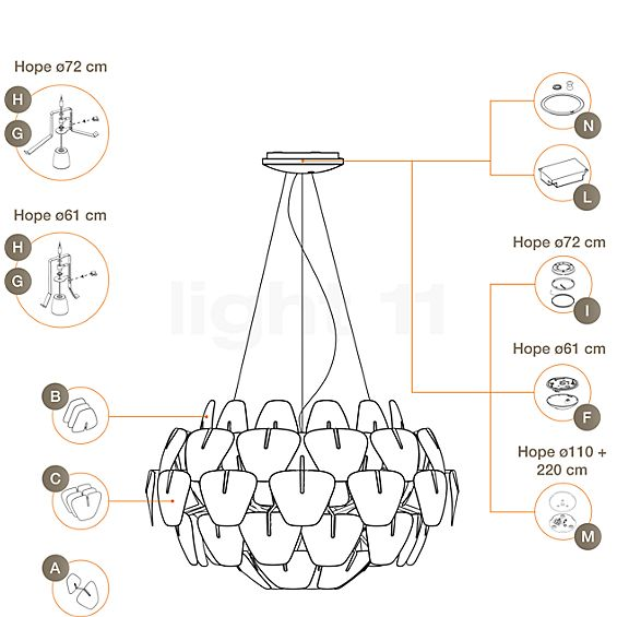 Luceplan Spare parts for Hope Pendant Light
