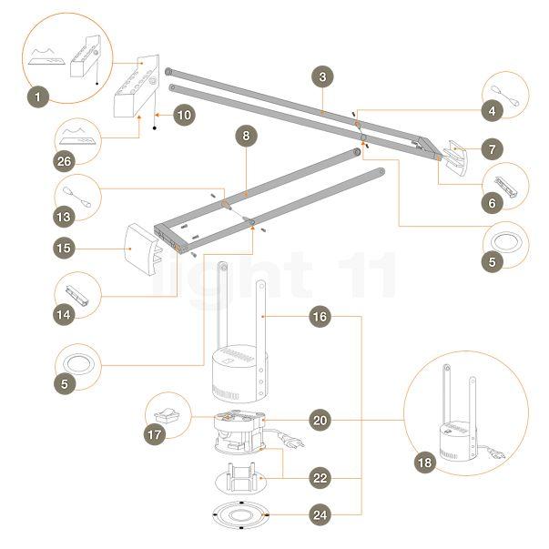 Artemide Ersatzteile für Tizio 35, schwarz