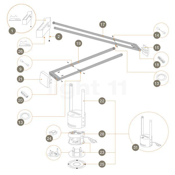 Artemide Ersatzteile für Tizio 50, schwarz