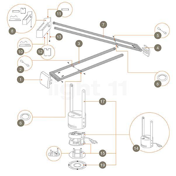 Artemide Ersatzteile für Tizio 50, weiß (neue Version)