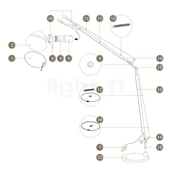 Artemide Ersatzteile für Tolomeo Lettura, alu