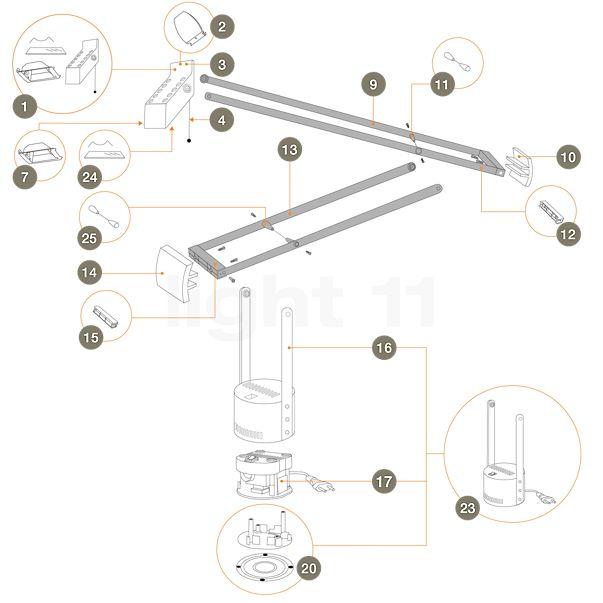 Artemide Reserveonderdelen voor Tizio Plus
