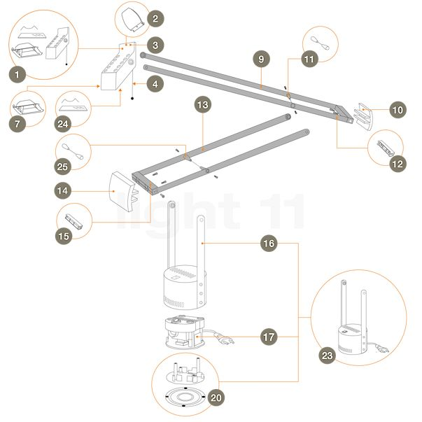 Artemide Spare parts for Tizio Plus