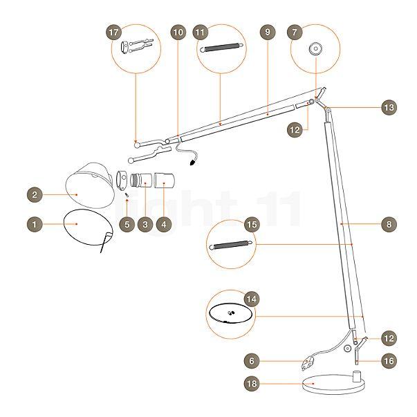 Artemide Spare parts for Tolomeo Lettura, alu