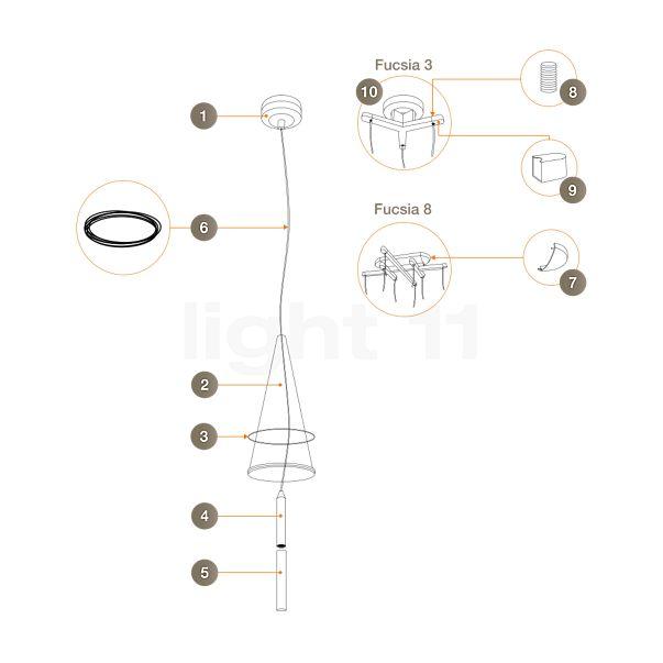 Flos Ersatzteile für Fucsia 1, 3, 8, 12