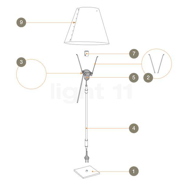 Luceplan Reserveonderdelen voor Costanza Terra telescooplamp met toetsdimmer