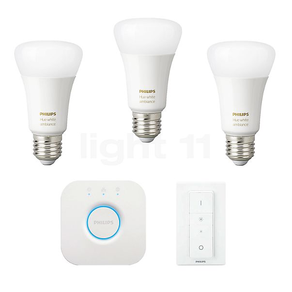 Philips hue White Ambiance LED E27 3er Starter-Set 9,5W + Dim Switch