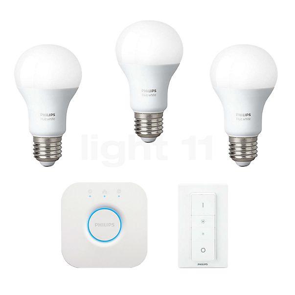 Philips hue White LED E27 3er-Starter-Set 9,5W + Dim Switch