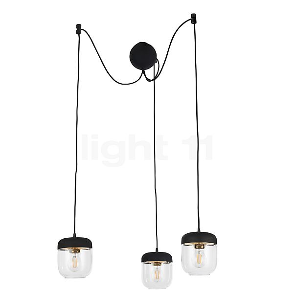 UMAGE Acorn Cannonball Pendant Light 3 lamps black in the 3D viewing mode for a closer look