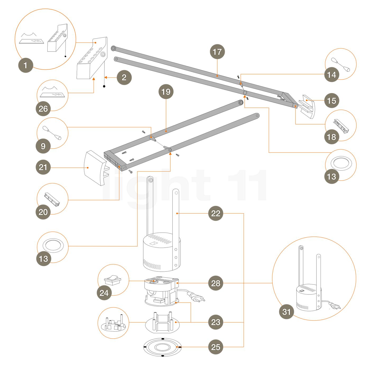 artemide ersatzteile f r tizio 50 schwarz. Black Bedroom Furniture Sets. Home Design Ideas